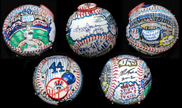 Charles Fazzino, Reggie Jackson painted baseballs