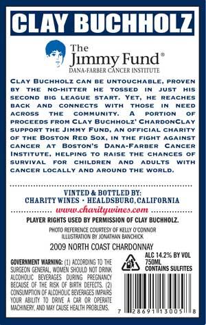Clay Buchholz, ChardonClay wine label back