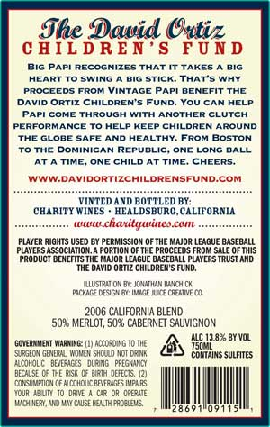David Ortiz, Vintage Papi wine back label