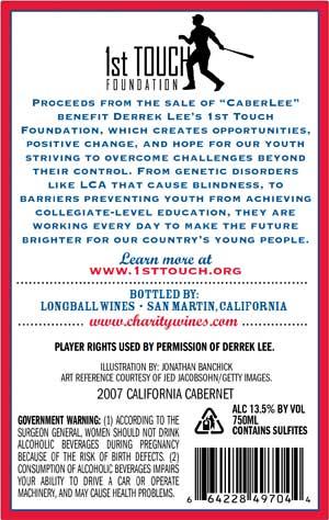 Derrek Lee, CaberLee wine label back