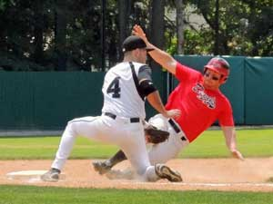 Safe at third base at Doubleday Field