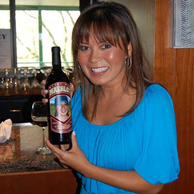 Hazel Mae with Maerlot wine