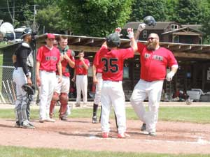 Derek Joz goes yard for 716 Highlanders