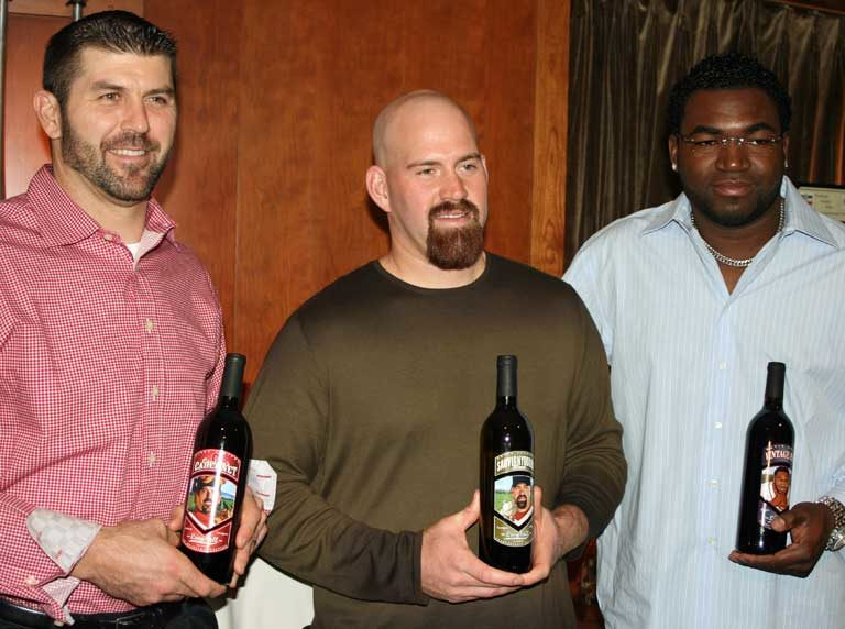 Jason Varitek, Kevin Youkilis and David Ortiz of the Boston Red Sox with Charity Wines
