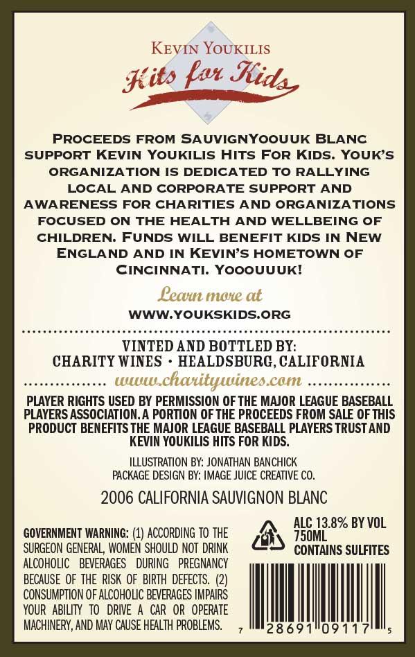 Kevin Youkilis, SauvignYoouuk Blanc wine label back