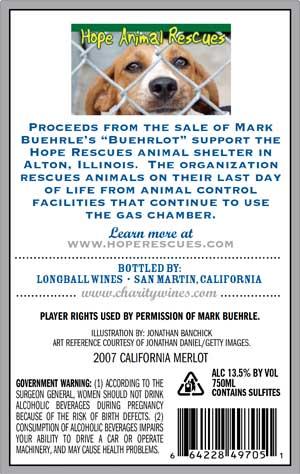 Mark Buehrle, Buehrlot wine label back