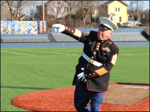 U.S. Mgy. Sgt. McCorkle Delivers First Pitch