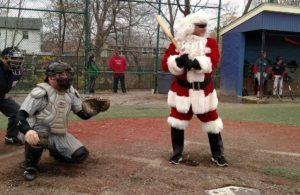 Santa Claus Batting at Winterball Baseball