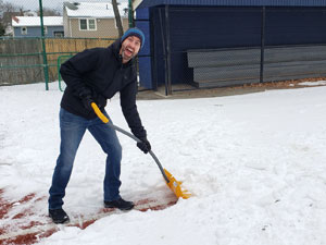 Jono Gallagher Prepares the Winterball Infield