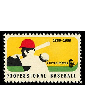 100th Anniversary of Professional Baseball U.S. Postage Stamp – 6¢
