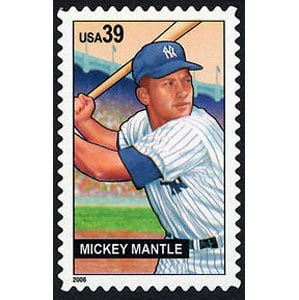 Mickey Mantle, Baseball Sluggers, U.S. Postage Stamp – 39¢
