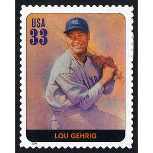 Lou Gehrig, Legends of Baseball U.S. Postage Stamp – 33¢