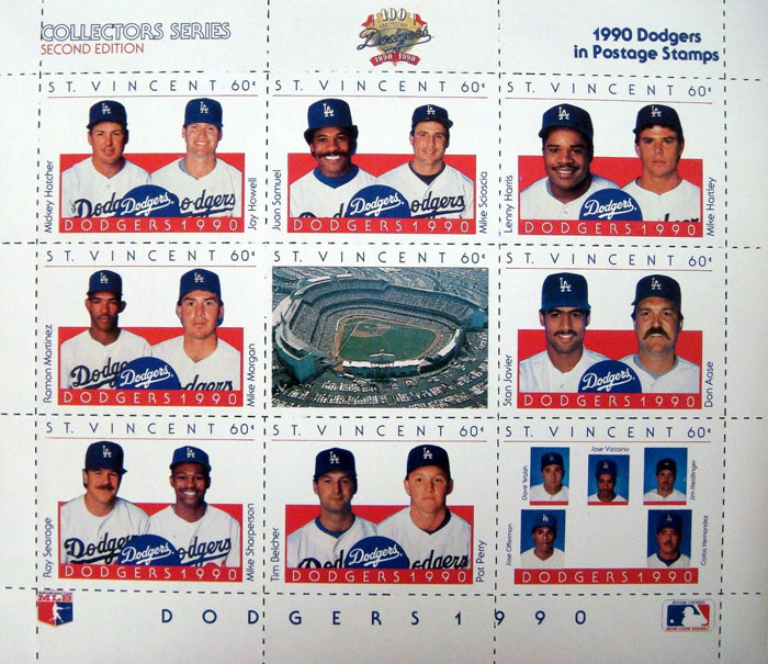1990 St. Vincent – Los Angeles Dodgers 100th Anniversary, Sheet 2