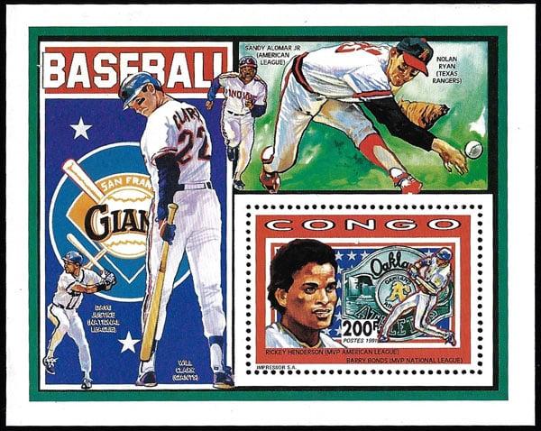 1991 Congo – Rickey Henderson, Barry Bonds, Nolan Ryan, Sandy Alomar Jr, Dave Justice & Will Clark Souvenir Sheet
