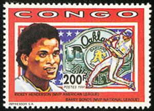 1991 Congo – Rickey Henderson with Barry Bonds