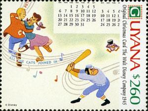 1991 Guyana – Walt Disney Christmas Card stamp