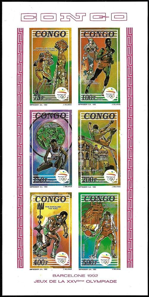 1992 Congo – Olympics in Barcelona, 6 Sports Souvenir Sheet