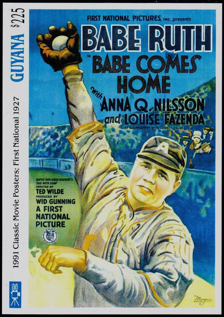1992 Guyana – Classic Movie Posters, Babe Ruth in Babe Comes Home