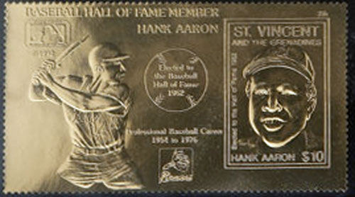1992 St. Vincents – Elected to the Hall of Fame, Hank Aaron, 23k Gold