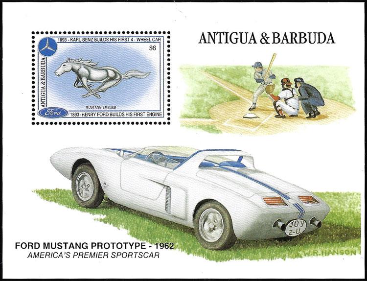 1993 Antigua & Barbuda – Ford Mustang Prototype with Baseball