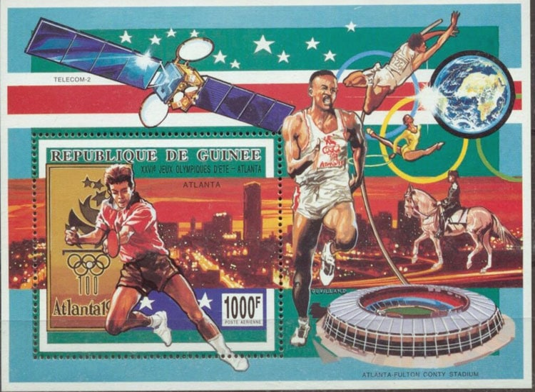 1993 Guinea – Olympics and Atlanta Fulton County Stadium Souvenir Sheet
