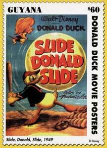 1993 Guyana – Vintage Movie Posters, Donald Duck, Slide Donald Slide, $60 Stamp Card