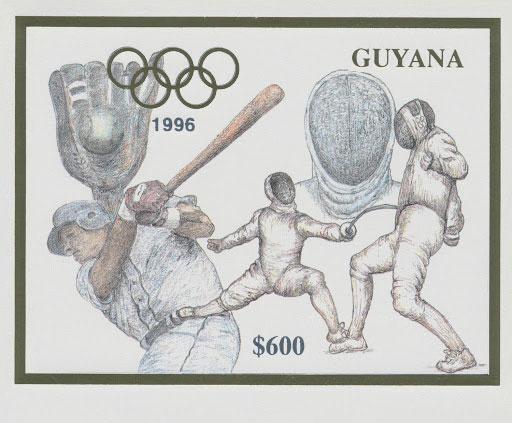 1993 Guyana – Olympics in Atlanta featuring Baseball in Gold