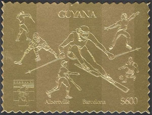 1992 Guyana – Olympics Souvenir Gold Stamp