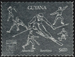 1992 Guyana – Olympics Souvenir Silver Stamp
