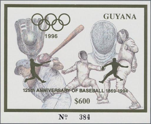 1993 Guyana – Olympics in Atlanta featuring Baseball in Gold, 125th Anniversary of Baseball