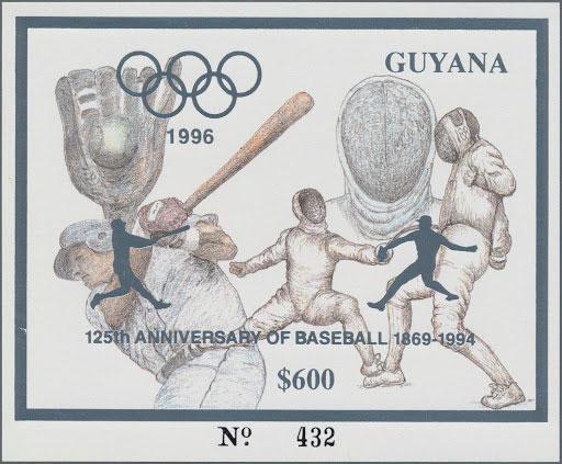 1993 Guyana – Olympics in Atlanta featuring Baseball in Silver, 125th Anniversary of Baseball
