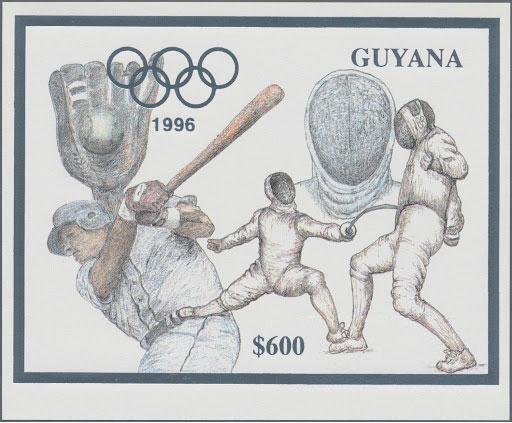 1993 Guyana – Olympics in Atlanta featuring Baseball in Silver