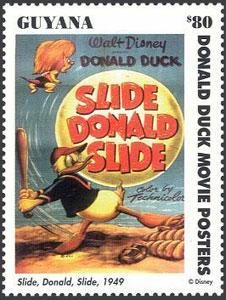 1993 Guyana – Vintage Movie Posters, Donald Duck, Slide Donald Slide, $80