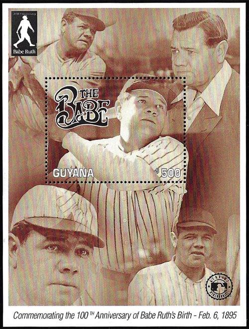 1995 Guyana – 100th Anniversary of Babe Ruth Birth, Sheet 1