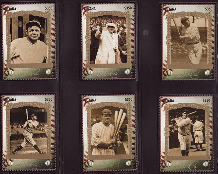 1995 Guyana – Babe Ruth Stamp Cards, second six cards