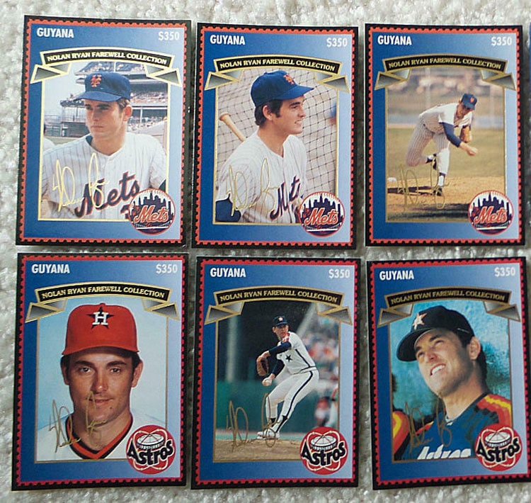 1995 Guyana – Nolan Ryan Farewell Collection Stamp Cards, second 6 cards