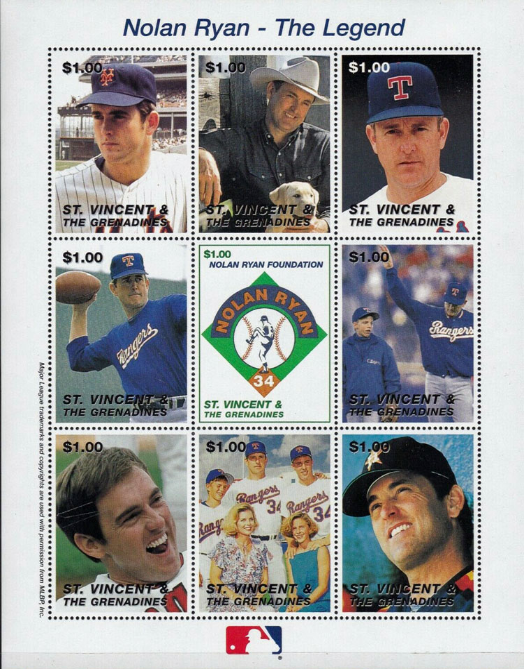 1995 St. Vincent – Nolan Ryan, The Ranger Years, sheet 2