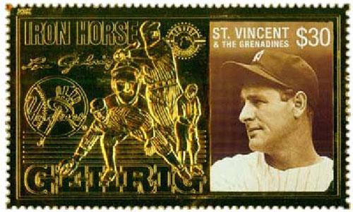 1996 St. Vincent – Lou Gehrig, Iron Horse, 23k Gold