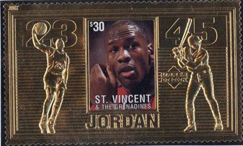 1996 St. Vincent – Michael Jordan, Basketball and Baseball, 23k Gold