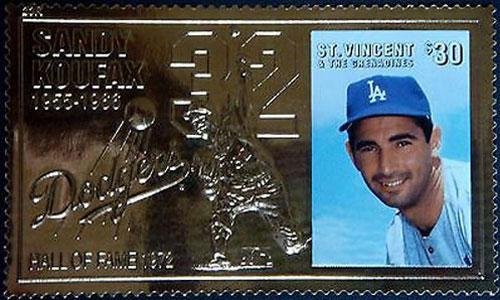 1996 St. Vincent – Sandy Koufax, 23k Gold