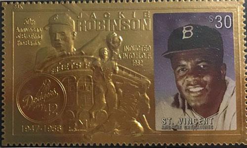 1997 St. Vincent – Jackie Robinson, 23k Gold