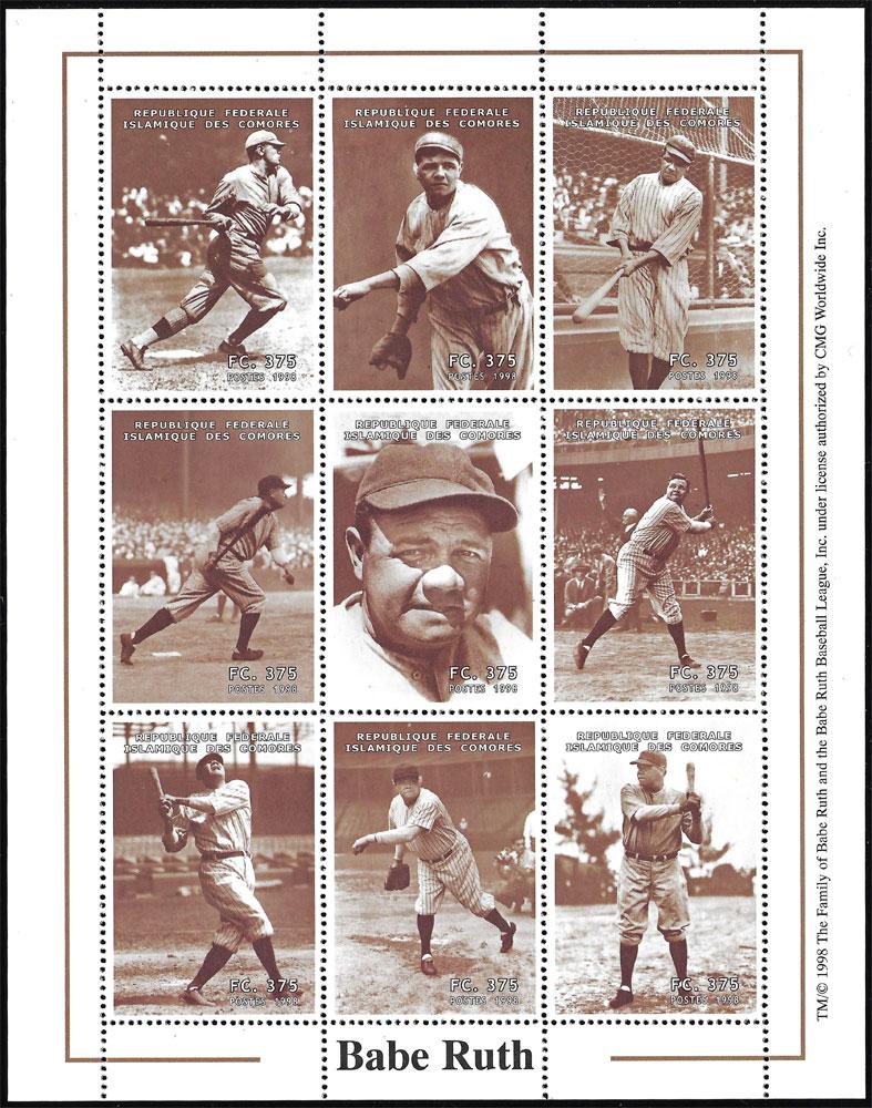 1998 Comores – Babe Ruth Souvenir Sheet