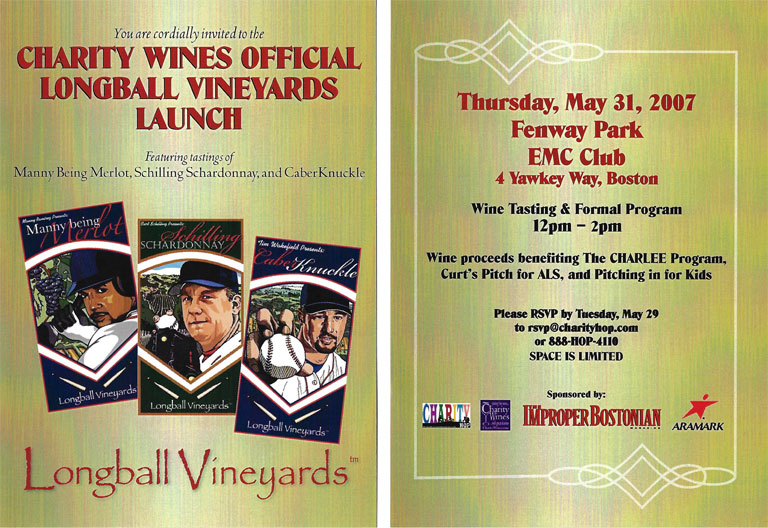 2007 Boston Red Sox, Charity Wines Launch Party Invitation