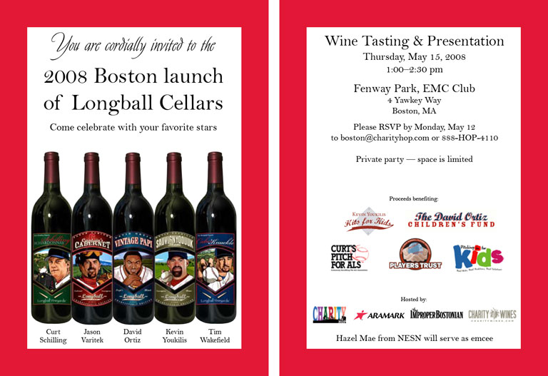 2008 Boston Red Sox, Charity Wines Launch Party Invitation