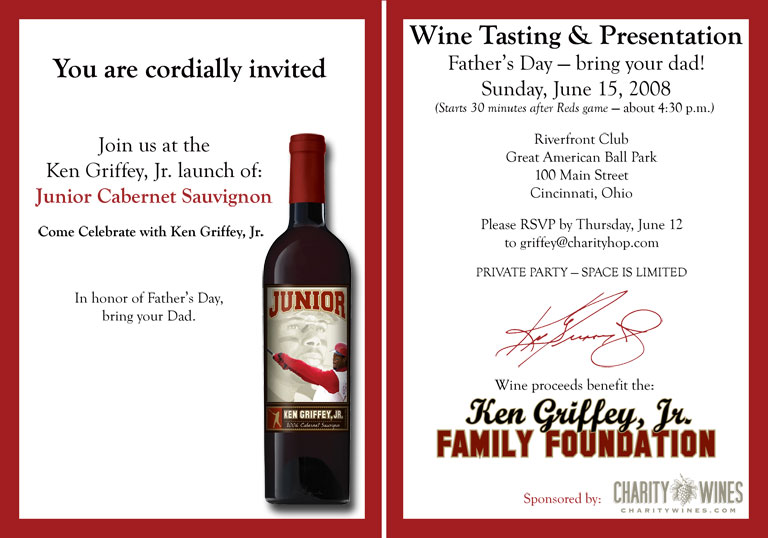 2008 Ken Griffey Jr, Charity Wines Launch Party Invitation
