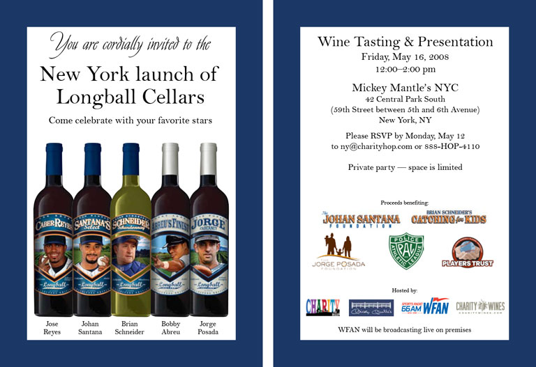 2008 New York Mets & Yankees, Charity Wines Launch Party Invitation
