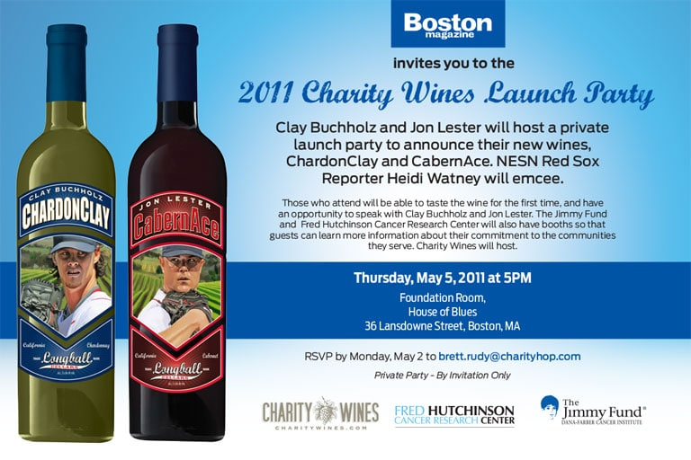 2011 Boston Red Sox, Charity Wines Launch Party Invitation