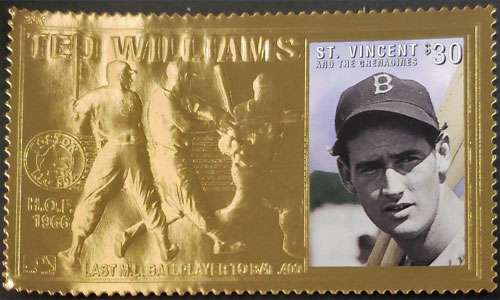 1996 St. Vincent – Ted Williams, 23k Gold